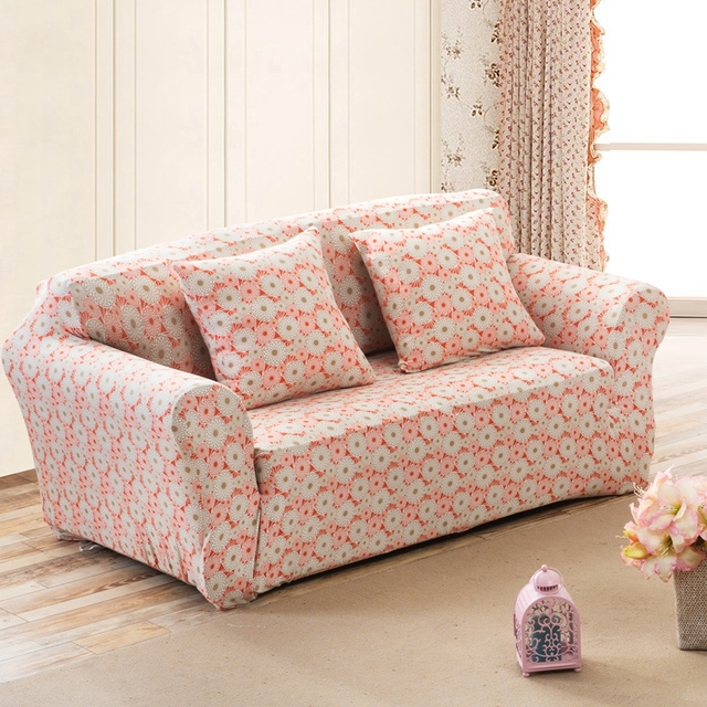 US $5.73 |SunnyRain Orange Florals Elastic Sofa Cover Polyester Sofa  Slipcover For Sectional Sofa 3 Seat Sofa Cover Couch Cover-in Sofa Cover  from ...