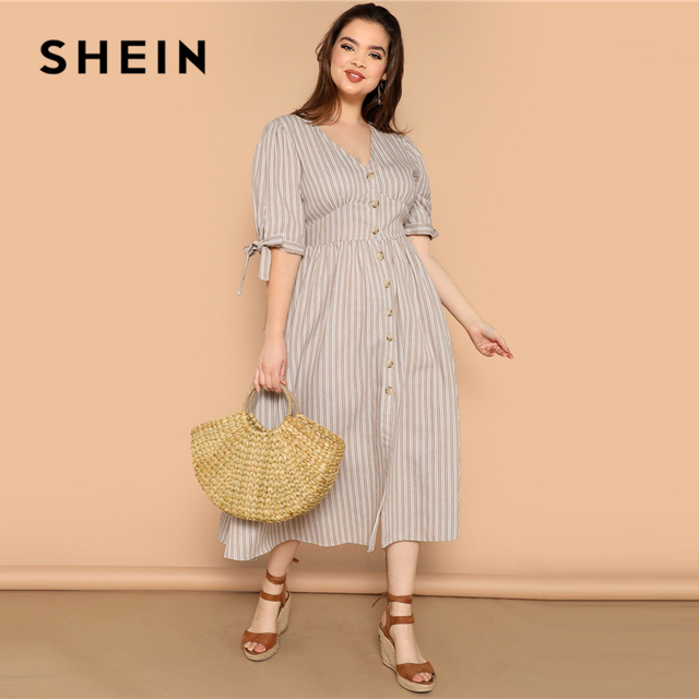 SHEIN Plus Size Multicolor Knot Cuff Button Up Striped Dress 2019 Women Summer Boho V Neck Half Sleeve Cotton Shift Long Dresses