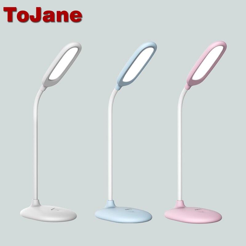ToJane TG108-C Conduit Lampe De Lecture 5 W Rechargeable Led Lampe de Bureau 3 Niveaux de Luminosité Led Table Lumière Touch Control Lampe Bureau