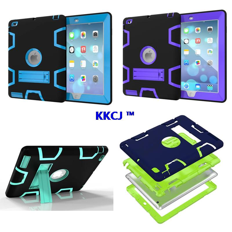 WES High Impact Resistant Hybrid Dual Layer Armor Protective Case with Kickstand for iPad 4 iPad 3 iPad 2 Shock-Absorption Shell