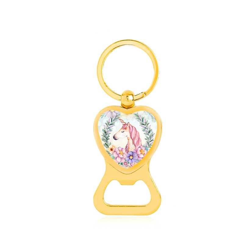 Garrafa Abridor De Coração Bonito Cavalo Unicórnio Kawaii Flor De Vidro Chaveiros Chaveiro Chaveiro Para As Mulheres Homens de Cor Prata Ouro