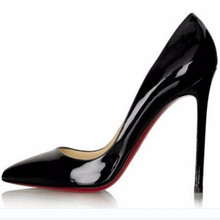 New female high-heeled shoes OL vocational pointed with 12 cm sexy nightclub candy color patent leather women's shoes