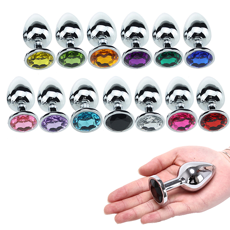 Beginner Plug Anal Stainless Steel Jeweled Butt Suction Cups 8 Colors One Size*1