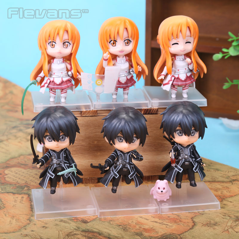 Anime Sword Art Online Asuna Kirigaya Kazuto Q Version PVC Action Figures Collectible Toys SOFG030 4 10cm 382 sword art online pvc figures yuki asuna model toys with gift box gifts brinquedos