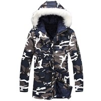Men Thicken Hooded Padded Jackets Winter Warm Coat Windbreaker Army Camouflage Print Casual Fur Fleece Collar