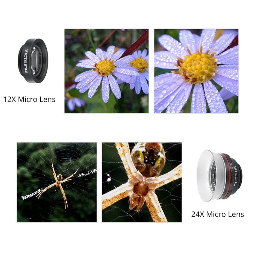 VICTSING Clip-on 3 in 1 Camera Phone Lens Kit Fisheye Lens + 12X Macro + 24X Super Macro Lens for iPhone 6s 6 Plus etc Cellphone 8