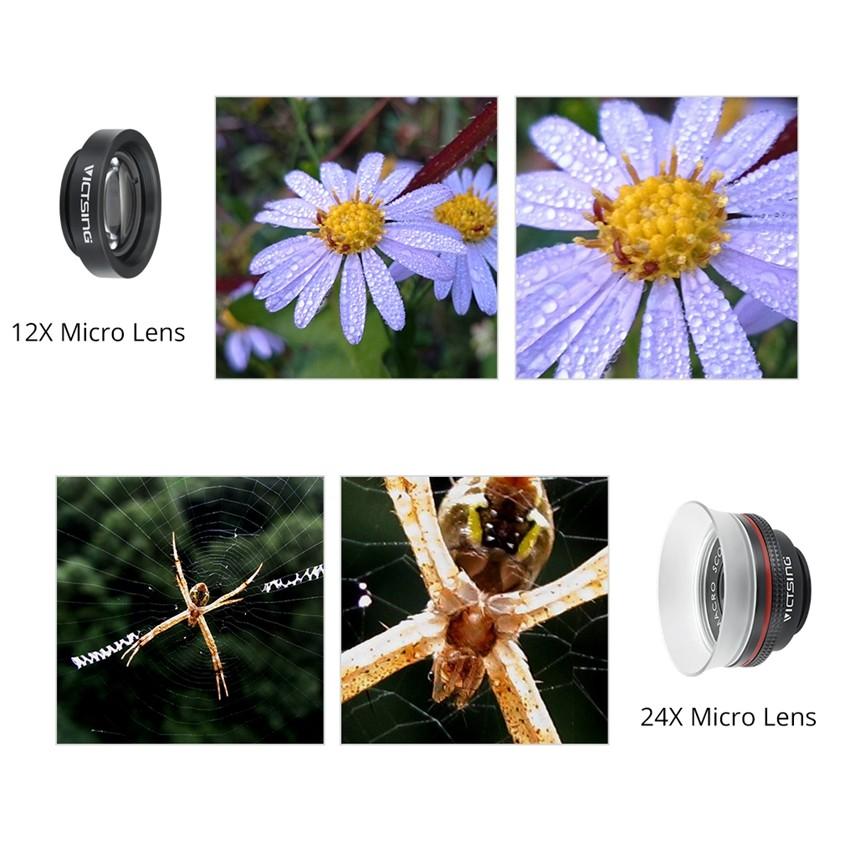 VICTSING Clip-on 3 in 1 Camera Phone Lens Kit Fisheye Lens + 12X Macro + 24X Super Macro Lens for iPhone 6s 6 Plus etc Cellphone 8