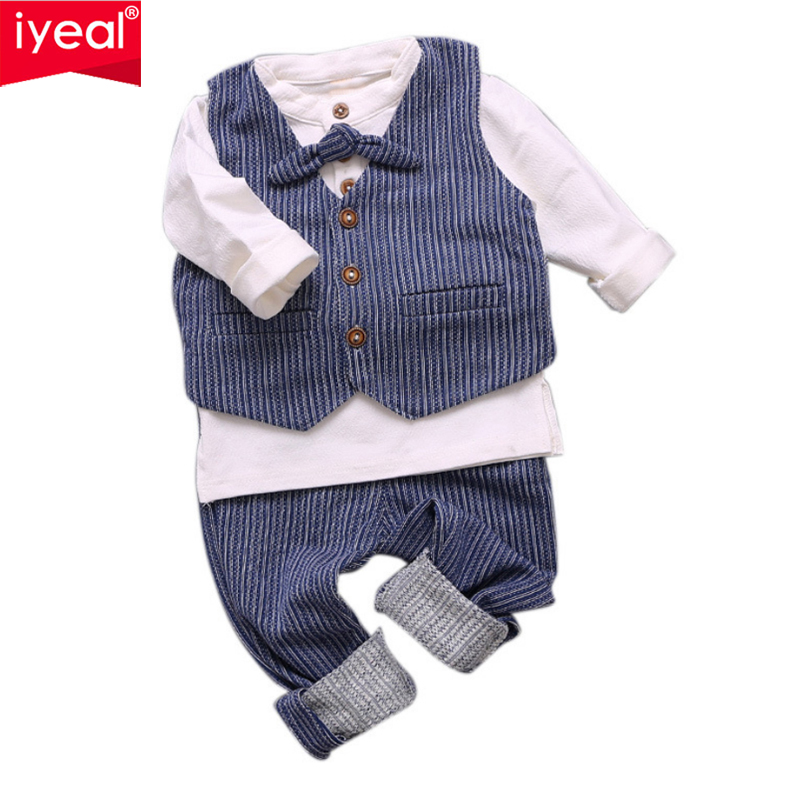 IYEAL Newborn Baby Boy Clothes Long Sleeve Tops T-shirt+Striped Pants +Vest Gentleman Kids Toddler Infant Outfits Set for 0-24M