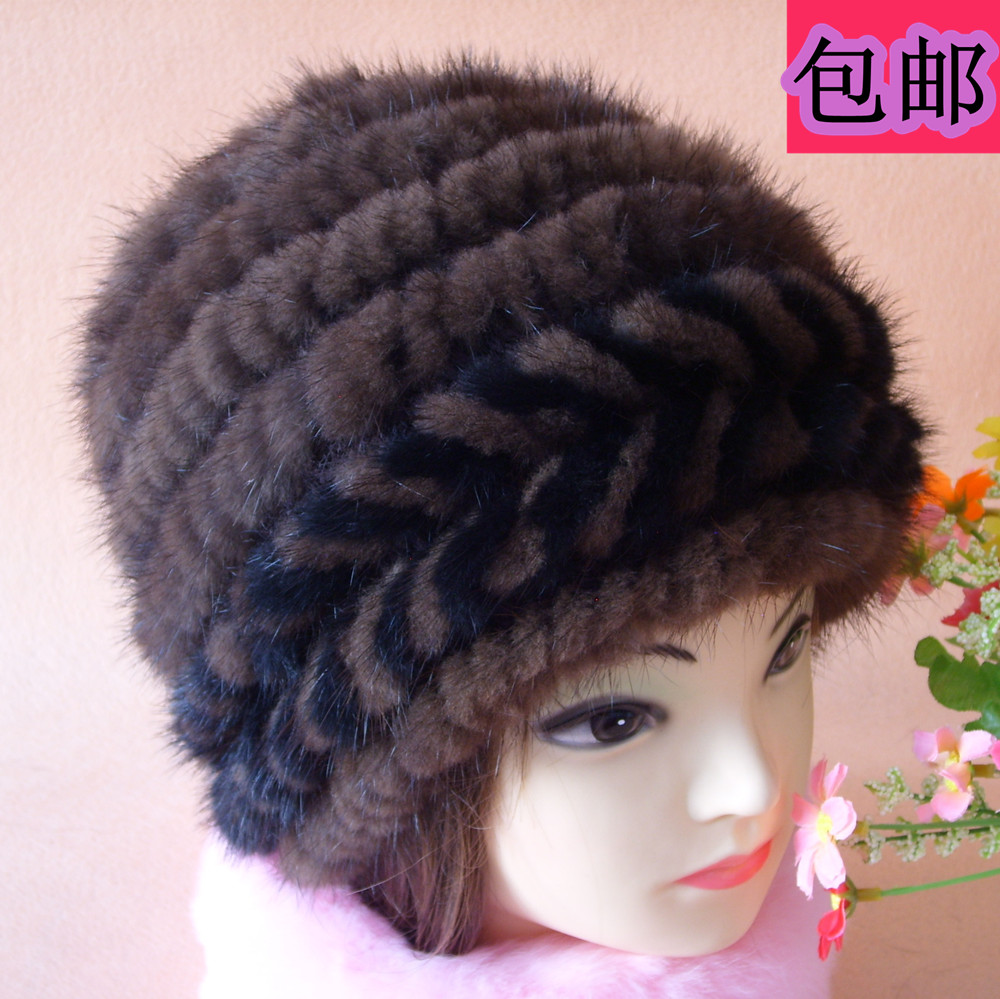ФОТО Luxury Autumn Winter Cap Women's Warm 4 Colors Wholesale Price Natural Fur Hat With Mink Knitted H752