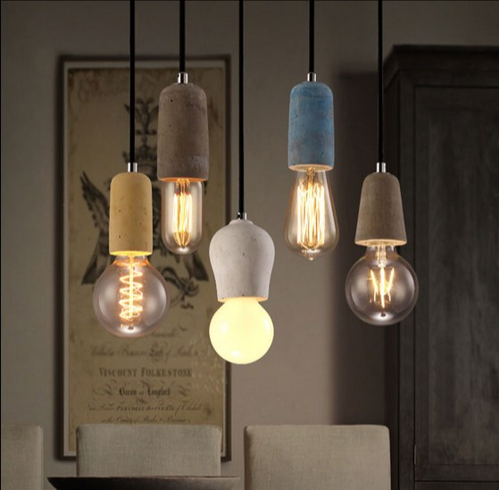 Industrial Loft Style Art Vintage Cement Droplight Edison Pendant Light Fixtures For Dining Room Hanging Lamp Indoor Lighting loft style iron vintage pendant light fixtures edison industrial droplight for dining room hanging lamp indoor lighting