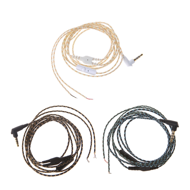 3.5mm Bended Earphone Maintenance Wire DIY Headphone Replacement Cord With Mic