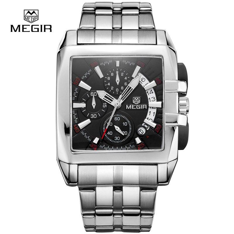 Megir business men quartz watches fashion brand chronograph wristwatch for man steel band for male with calendar 2018 new цена