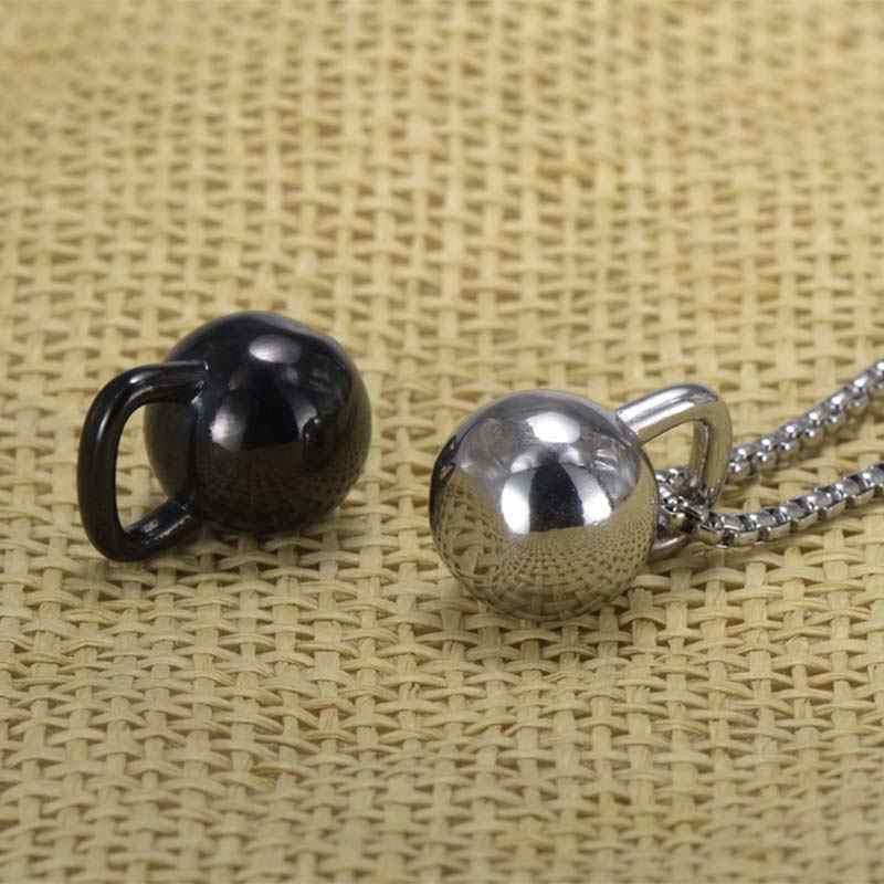 Kettlebell wisiorek sztanga ze stali nierdzewnej naszyjnik sportowy mężczyzn biżuteria moda akcesoria odzieżowe 23 w biżuterii treningu łańcucha