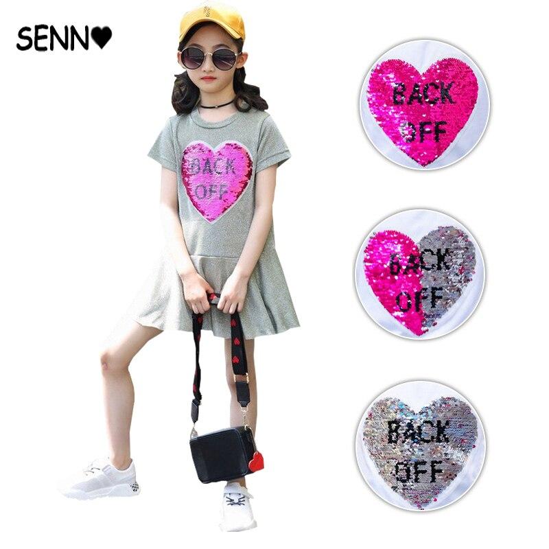 Heart Flipped Reversible Sequin Kids Girls Dress Children Glitter Magic Discoloration Two-way Reverse Sequin Dresses for Girls