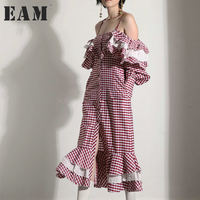 EAM 2018 New Spring Slash Neck Long Sleee Red And White Plaid Lotus Leaf Edge
