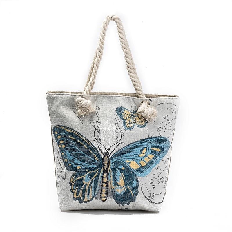 04f21abad54c Для женщин мешок бабочки печатных Повседневное Tote Для женщин холст плеча  покупок и пляжа Сумки дизайнер Сумки высокое качество