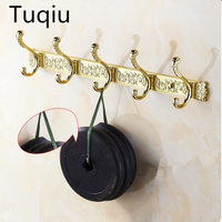 Carving Gold Plate Wall Mount Clothes And Hat Hook 4 8 Row Vintage Elegant Hook Bathroom Accessories Free Shipping Robe Hooks