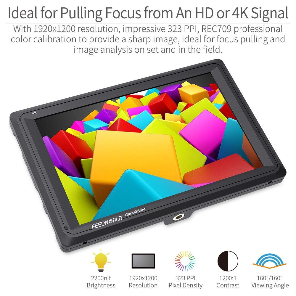FEELWORLD FW279 7 дюймов ультра яркий 2200nit на поле камеры DSLR монитор Full HD 1920x1200 4K HDMI вход выход высокая яркость