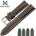 Maikes novo produto durável couro faixa de relógio 19 mm 20 mm 22 mm preto relógio ocasional correia de aço inoxidável fivela para TISSOT