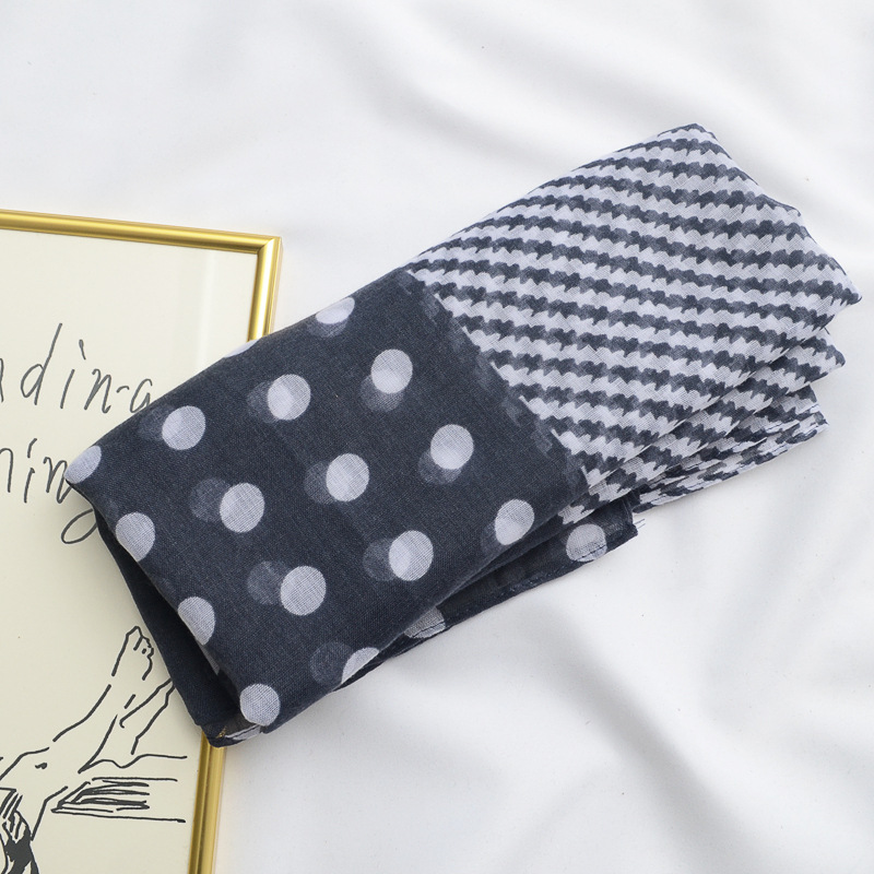women summer Spain style luxury brand long black white dots   scarf   foulard femme long patchwork head   scarf     wraps