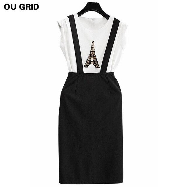 Summer Suit for Woman 2016 Print Eiffel Tower Beading T-shirt+ Brace Skirt Women Leisure Suit O-neck Cotton Two Piece Skirt Sets