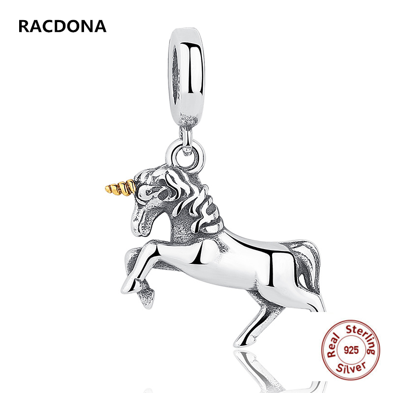 Authentic 100% 925 Sterling Silver Angel Horse Animal Charm Pendant Fit Europe pandora Charm Bracelet Diy jewelry Making
