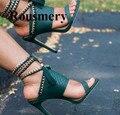 Europa und die Vereinigten Staaten neue schwarz textur ferse strap open-toe high heel sandalen bankett schuhe Mode Sommer frauen Sandalen