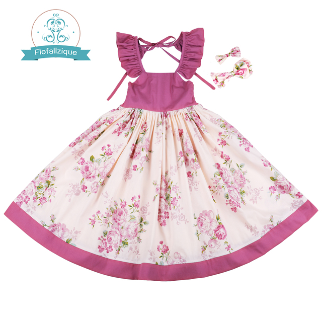 Flofallzique Cotton Vintage Printed Floral Sweet Kids Clothes With tow bow Clips Party Wedding Casual Cute girls dress  1 10Y