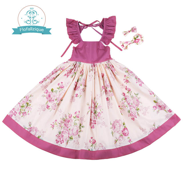 796eb650fa9aa Flofallzique Cotton Vintage Printed Floral Sweet Kids Clothes With tow bow  Clips Party Wedding Casual Cute girls dress 1-10Y