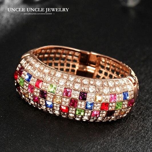 Incroyable couleur or Rose multicolore cubique zircone entièrement réglage de luxe reine série femme bracelet Bracelets en gros