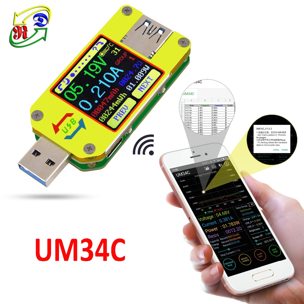 RD UM34 UM34C para приложение USB 3,0 типо-C DC amperimetro как voltimetro метро дель voltaje де corriente carga de de la bateria кабель. Com