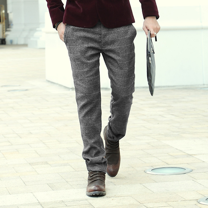 21dc78d6ab4 High Quality New Mens Winter Autumn office pants Men casual plaid woolen  dress skinny Suit Pants Male Business Formal trousers-in Jeans from Men s  Clothing ...