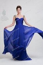 königsblau schatz promkleider mit puffärmeln chiffon lange formale abendkleider vestidos de fiesta partei