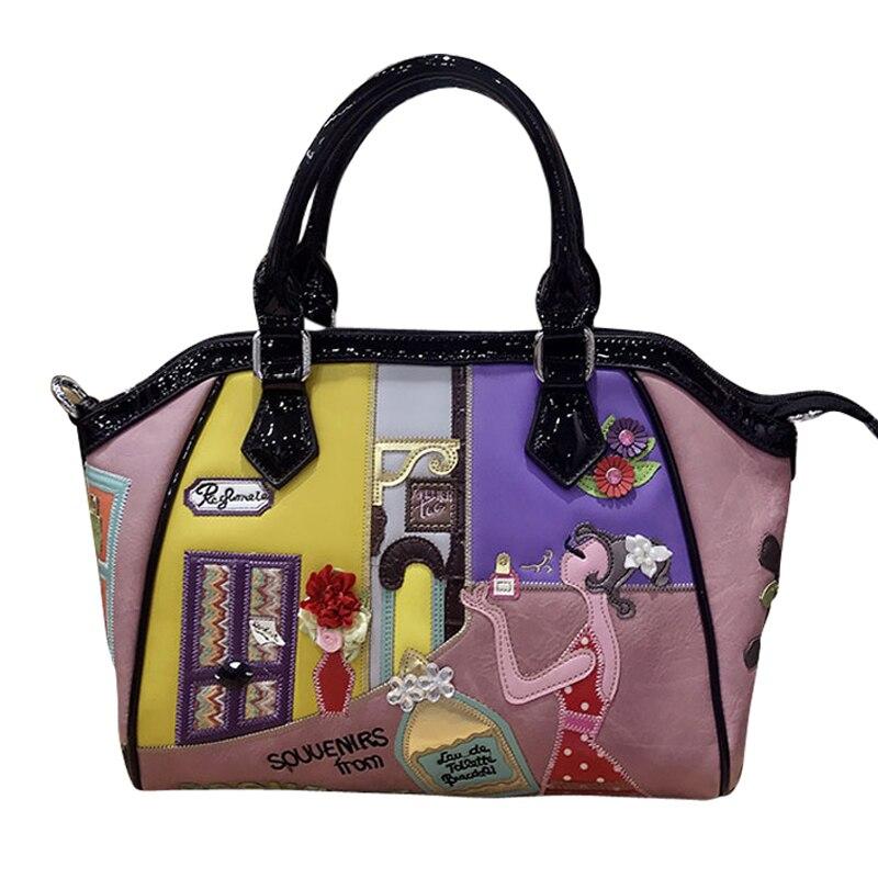 Femmes sacs en cuir Patchwork broderie sacs à main sacs à bandoulière Messenger sac fourre-tout Braccialini marque Style dessin animé parfum fille