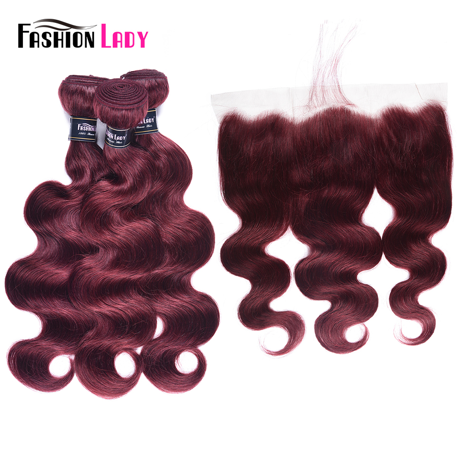 Fashion Lady Pre Colored 3 Bundles Body Wave Hair With Frontal Red 99j Burgundy Malaysian Human Hair Bundles With Frontal Remy-in 3/4 Bundles with Closure from Hair Extensions & Wigs    1