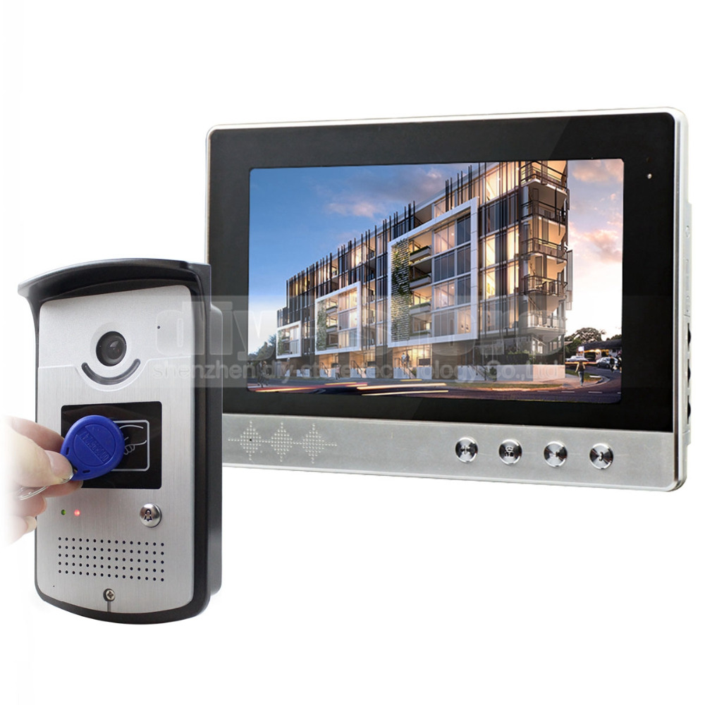 DIYKIT 10 inch Wired Video Door Phone Doorbell Home Security Intercom System RFID Camera LED Color Night Vision
