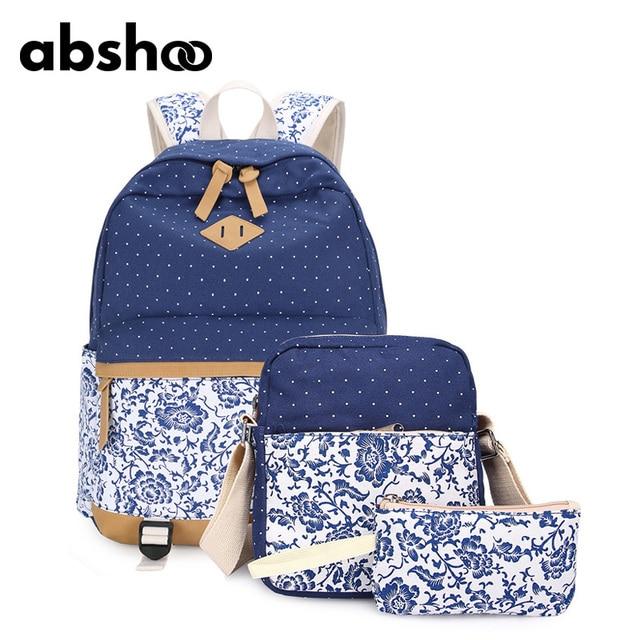416c91fddd Abshoo Girls School Bags Floral Printing Backpack Cute Polka Dot School Bags  For Teenage Girls 3 Pcs Backpacks Set For Women