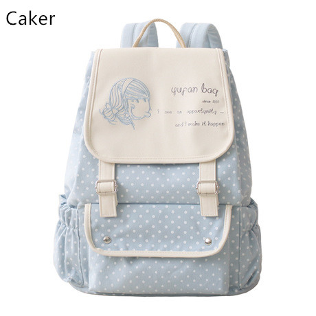 Caker 2017 Fashion Women Canvas Backpack Preppy Style Shoulder Bags Lady Blue Red Letter Dot Print