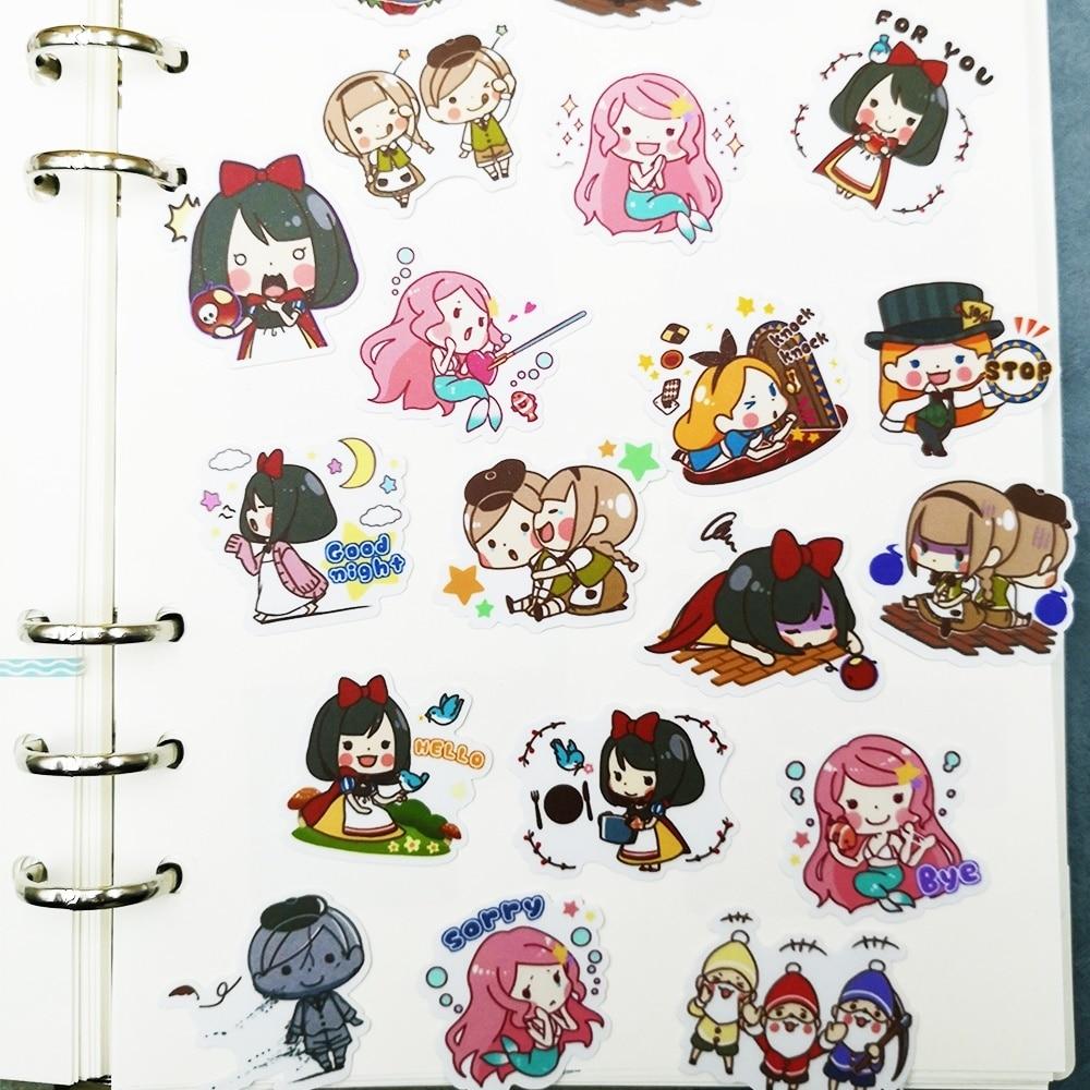 Купить с кэшбэком 20/40 Cartoon Girl Collection Sticker Diary Album Refrigerator Decoration DIY Craft Applique House Wall Decoration Random Repeat