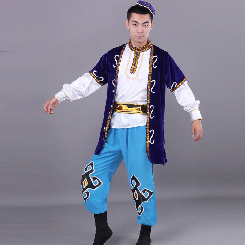 man Xinjiang dance clothing Uighur ethnic minority clothing kazak boy sapphire male Muslim dance costumes Indian costumes
