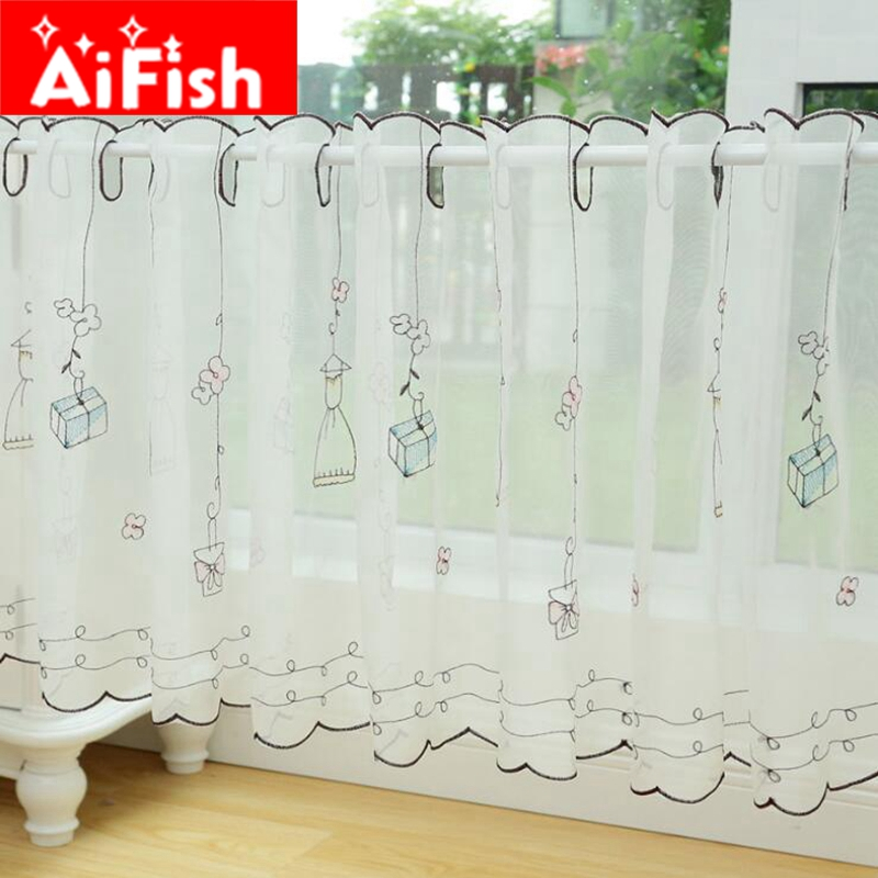 Small Fresh Rural Coffee Curtain Short Yarn Voile Semi Shade Rustic Lace  Small Bay Window Kitchen Half Curtain DY037 20