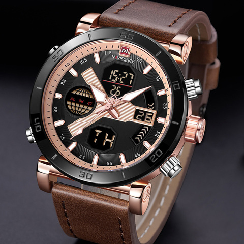NAVIFORCE Men Watch Top Brand Luxury Sport Chronograph Digital Male Clock Genuine Leather LED Military Quartz Wristwatch 9132 Pakistan