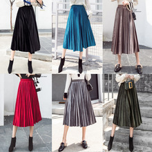 Elegant Korea Style Gold Velvet High Waist Pleated Skirt For Girls 2019 Summer Womens Fashion Elasticity Wasit Beach