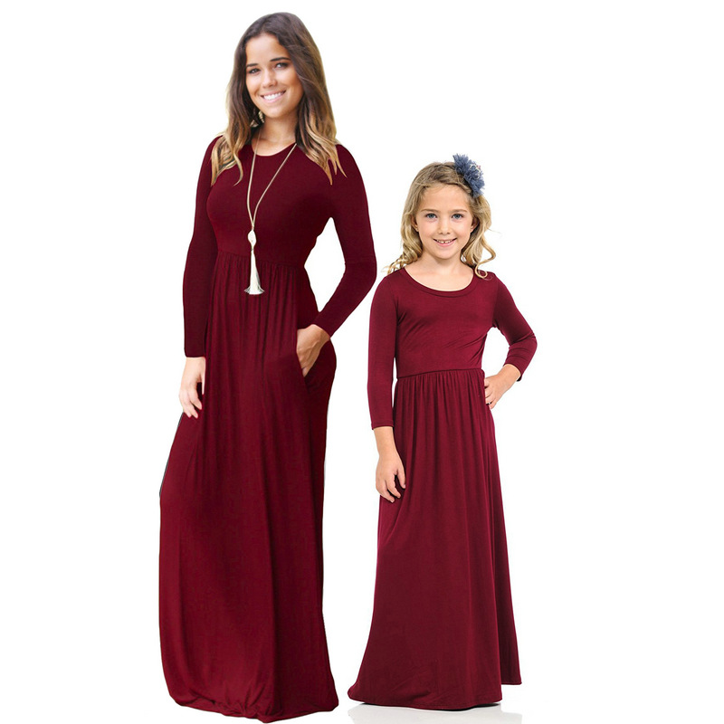 New Arrival Long Family Matching Clothes European Style Mother Kids Girls Mom and Daughter Maxi Dress