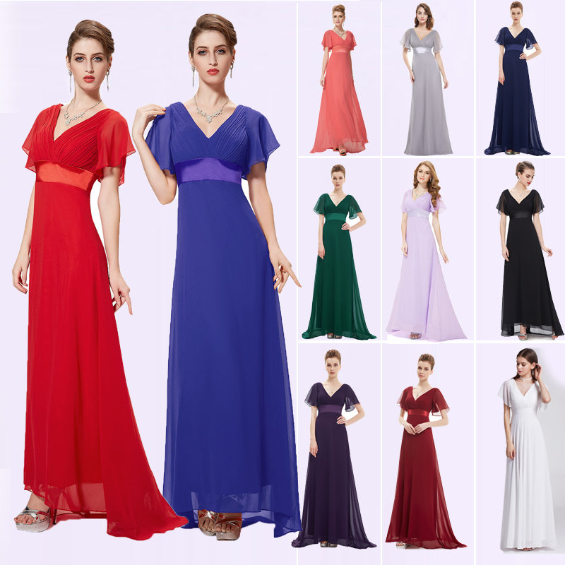 Plus Size Mother Of  The Bride Dresses Ever Pretty EP09890 Double V Neck Short Sleeves Long Special Occation Dress Party Gowns