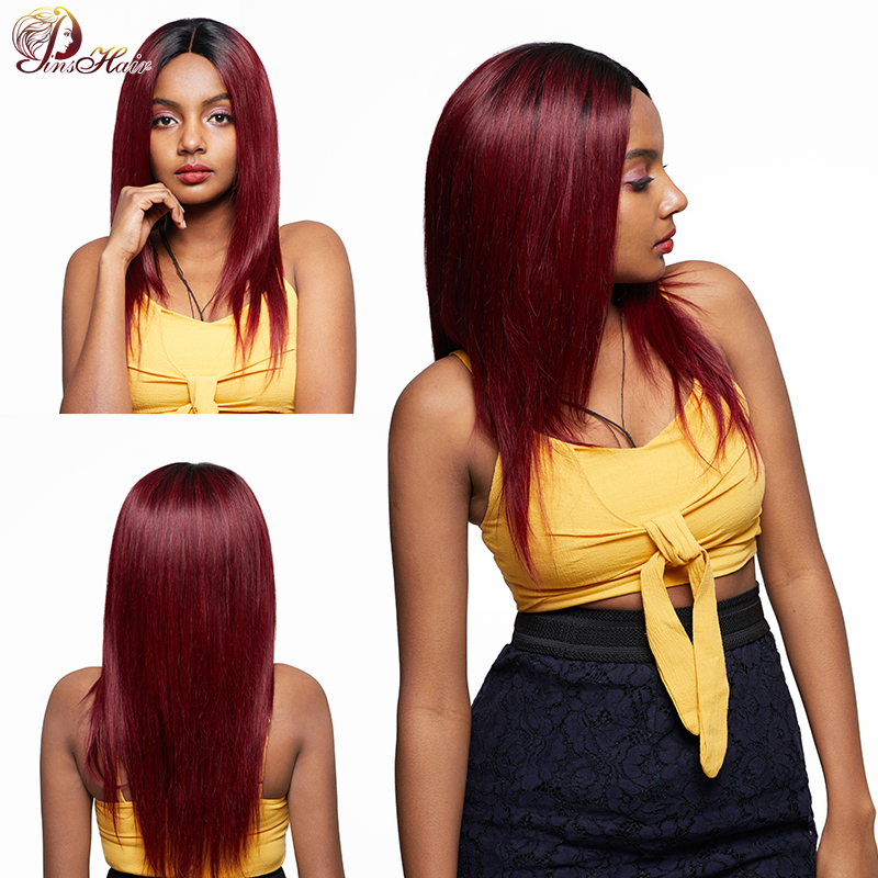 Pinshair Lace Front Human Hair Wigs 4*4 Closure T1B 99J Burgundy Red Ombre Peruvian Straight Hair Wigs For Black Women Nonremy