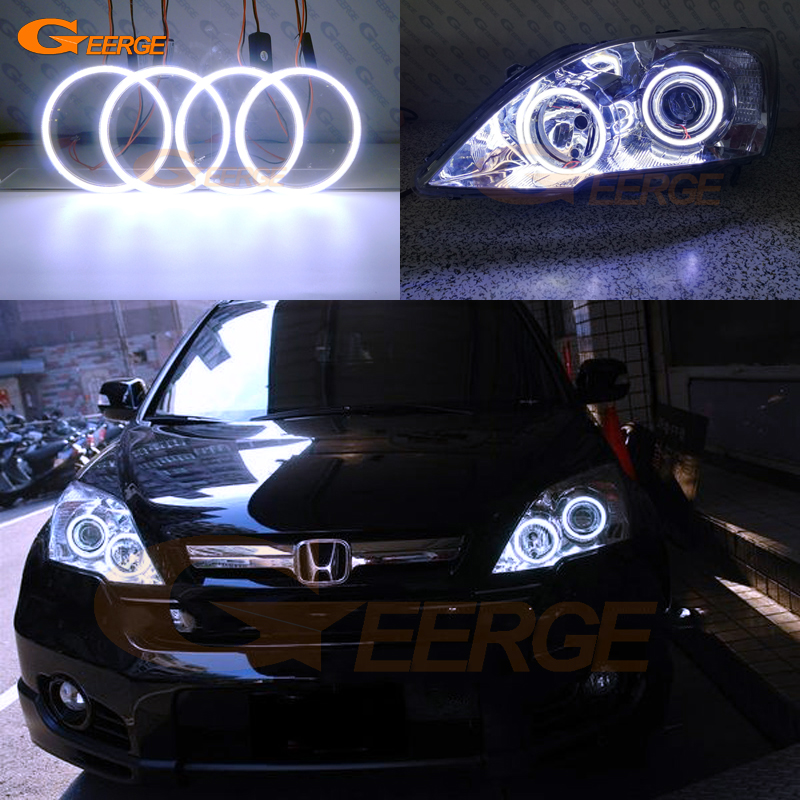 For HONDA CR-V CRV 2007 2008 2009 2010 2011 Xenon HEADLIGHTS Excellent Ultra bright illumination COB led angel eyes kit накладки на пороги honda cr v ii 2001 2007 carbon