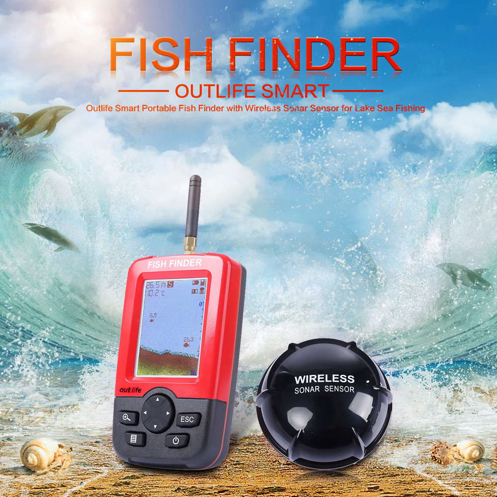 Outlife Smart Portable Depth Fish Finder with 100 M Wireless Sonar Sensor echo sounder Fishfinder echo sounder for fishing lucky ff718li w portable fish finder wireless sonar fishfinder 45m fish depth alarm echo sounder