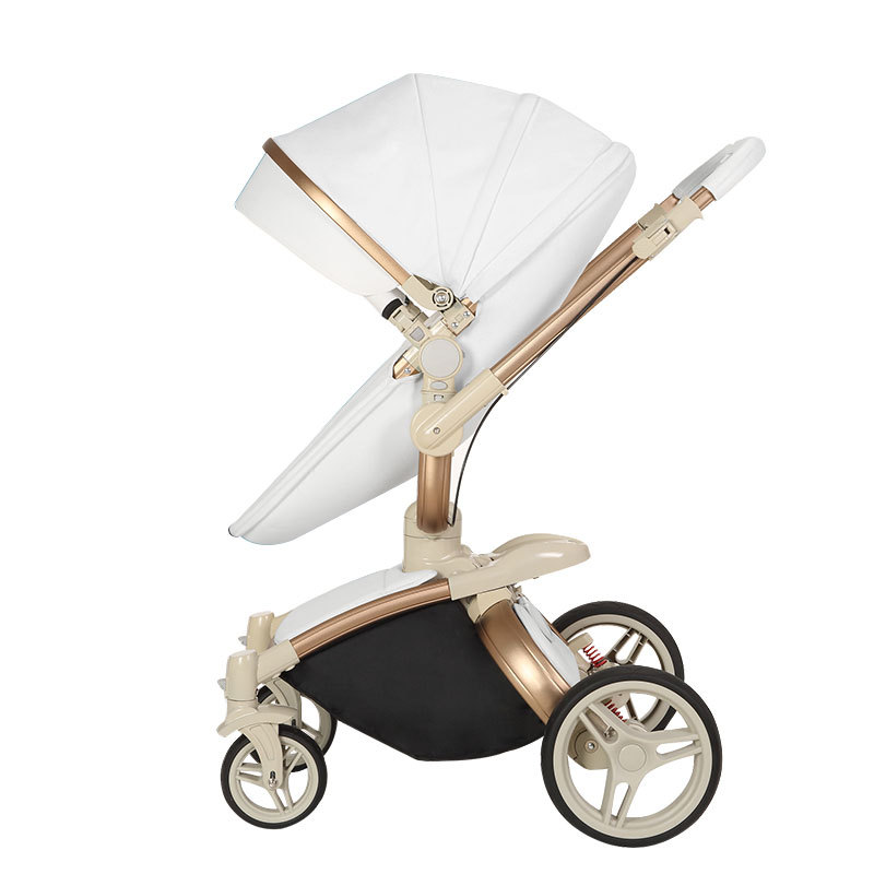Baby stroller can sit reclining high landscape luxury PU material four-wheel shock absorber children trolley