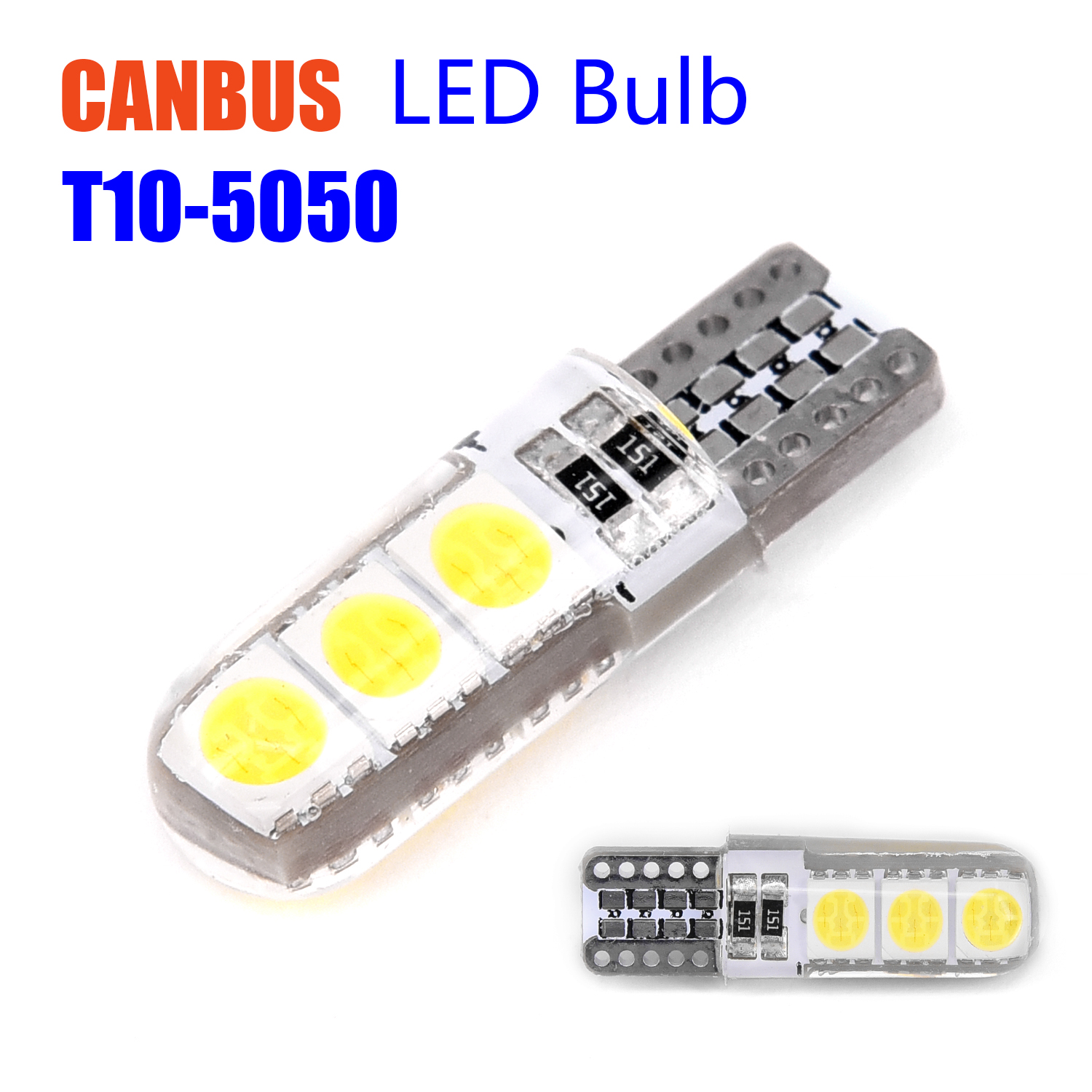 10pcs set Canbus T10 194 W5w 5050 Led 6smd White Car Side Wedge Safe Bulb Lights in Shell from Automobiles Motorcycles